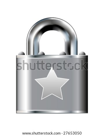 Star icon on stainless steel padlock vector button - stock vector