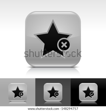 Star icon set. Gray color glossy web button with black sign. Rounded square shape with shadow, reflection on white, gray, black background. Vector illustration design element 8 eps - stock vector