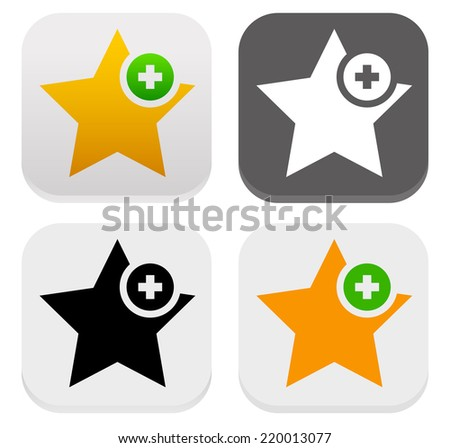 Star icons. Add to favorites, plus 1, like - stock vector