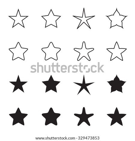 Star icons isolated on a white background. Outline and silhouette variations. Vector illustration - stock vector