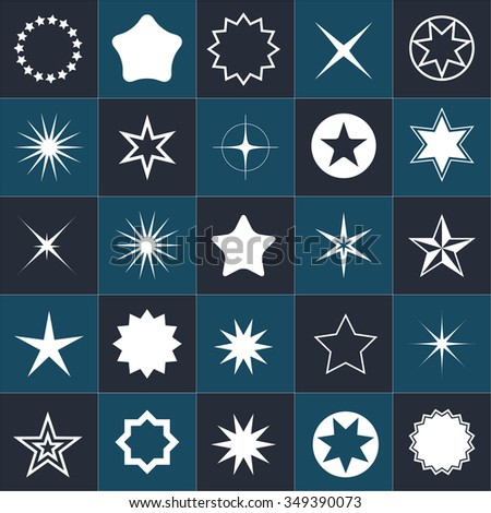 Star icons. Star pictogram. Set star icons. Concept rating, success, awards. Collection star pictogram.  Isolated star symbol. Star icon on a black background. - stock vector