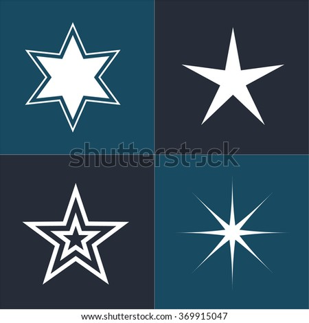 Star icons. Star pictogram. Set star icons. Concept rating, success, awards. Collection star pictogram. Isolated star symbol.  - stock vector