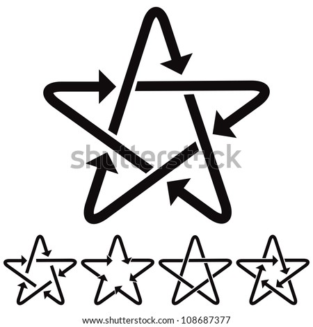 Star icons with arrows, vectors set. - stock vector