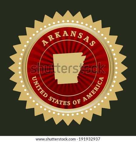 Star label with map of Arkansas, vector - stock vector