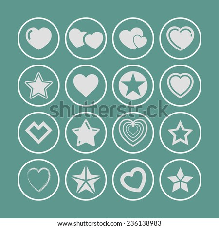 star like icon set - stock vector