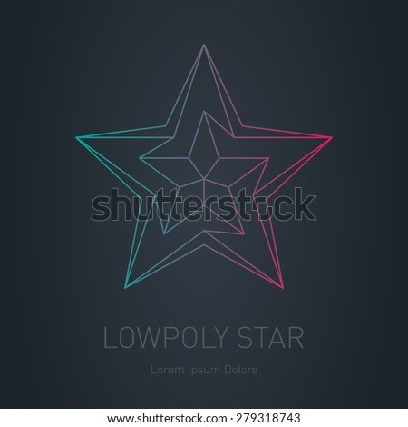 Star logo. Low poly impossible figure. Vector Low poly logotype or line design element on dark background. - stock vector