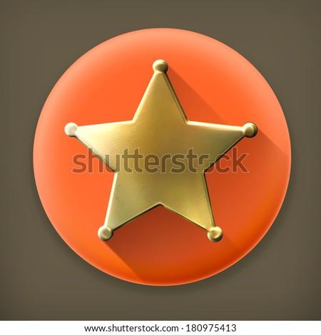Star, long shadow vector icon - stock vector