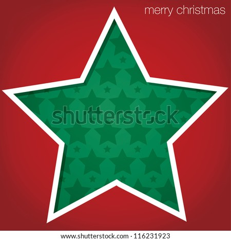 "Star ""Merry Christmas"" cut out card in vector format. - stock vector"