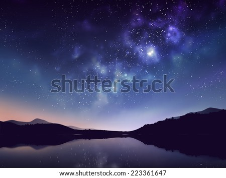 Star night vector illustration - stock vector