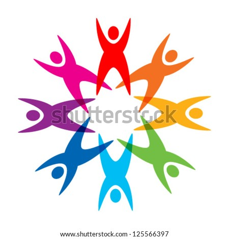 star of colorful people pictogram logo, vector icon - stock vector