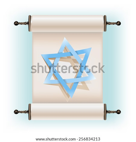 Star of David sign and ancient scroll - stock vector