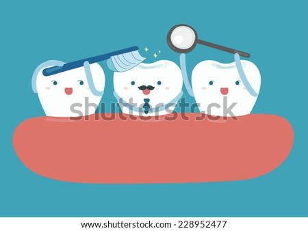 Star of good looking tooth  - stock vector
