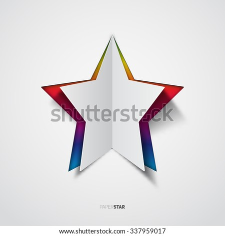 Star, Rainbow colored vector paper cut motive - stock vector