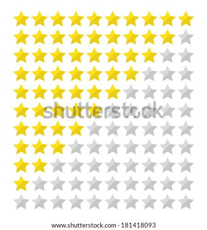 Star rating for 0 - 10 stars in flat design - stock vector