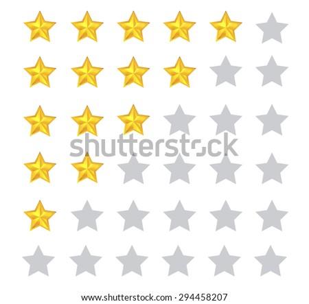 Star rating for 0 - 5 stars. Vector illustration - stock vector