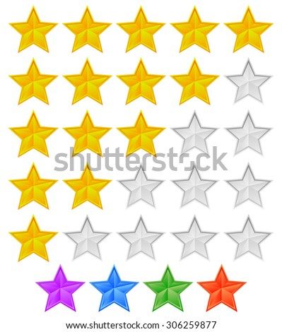 Star rating graphic element for valuation, review, classification concepts. Vector. - stock vector