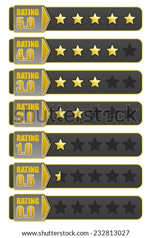 Star Rating System. Vector illustration of a rating system based on stars one through five - stock vector