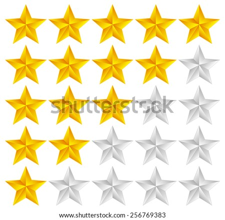 Star Rating Template Vector with 3d stars - stock vector