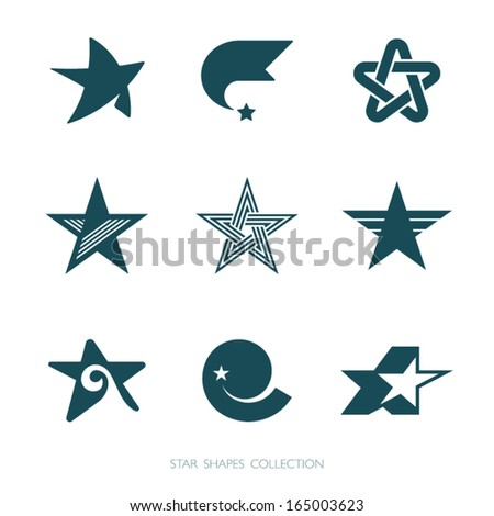 Star Shapes Collection. Vector icons set. - stock vector