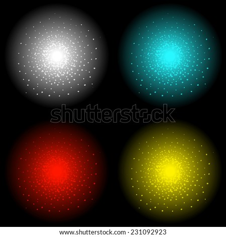 Star shine bright glow light vector effect. White, aqua blue, red and yellow colors. Clip art isolated on black - stock vector