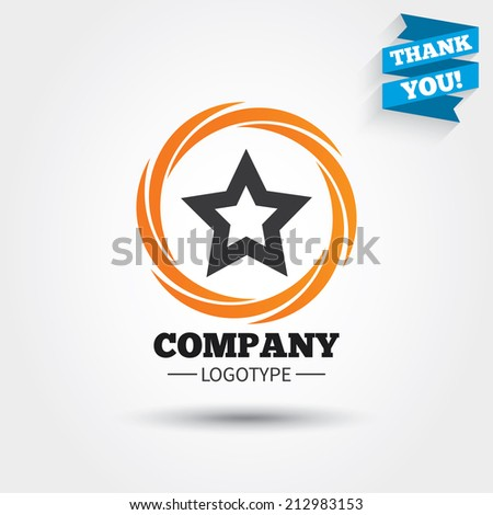Star sign icon. Favorite button. Navigation symbol. Business abstract circle logo. Logotype with Thank you ribbon. Vector - stock vector