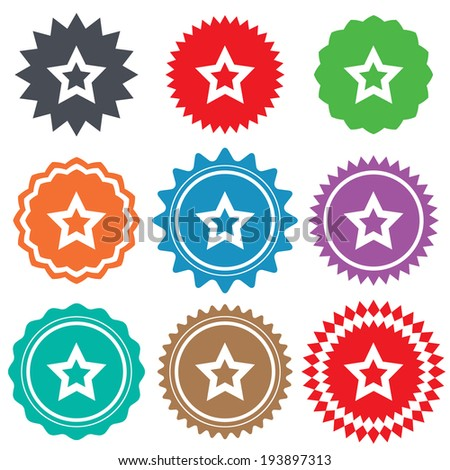 Star sign icon. Favorite button. Navigation symbol. Stars stickers. Certificate emblem labels. Vector - stock vector