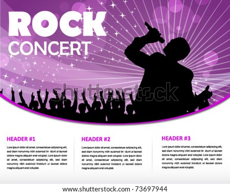 star singer and the crowd of fans - print and web template - stock vector