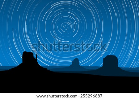 Star Trails at Monument Valley, Arizona, EPS10 Vector - stock vector