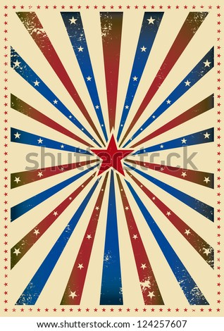 Star tricolor paper. A grunge background with a texture for your advertising - stock vector