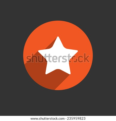 Star white icon with long shadow. Red button on the black background. Vector EPS10 - stock vector