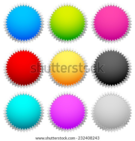 Starburst / flash shapes (in 9 color) - stock vector