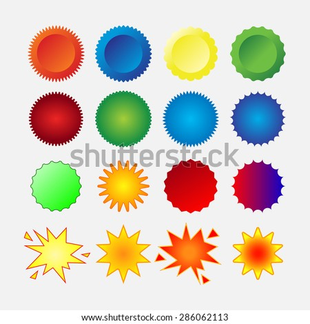 starburst seals set, stars, glass, shapes, promotional labels, colorful stickers, editable vector image - stock vector