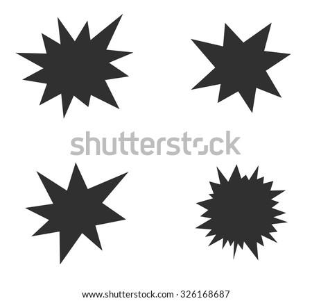 starburst splash star black icon set - stock vector
