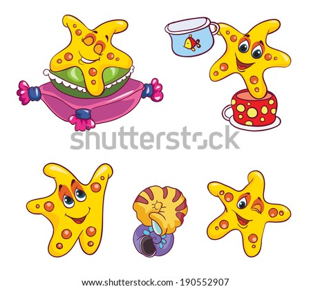starfish set , vector illustration on white background - stock vector