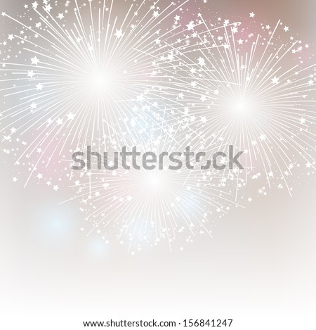Starry fireworks background with place for text - stock vector