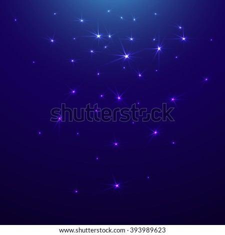 Starry sky, waiting for a miracle - stock vector