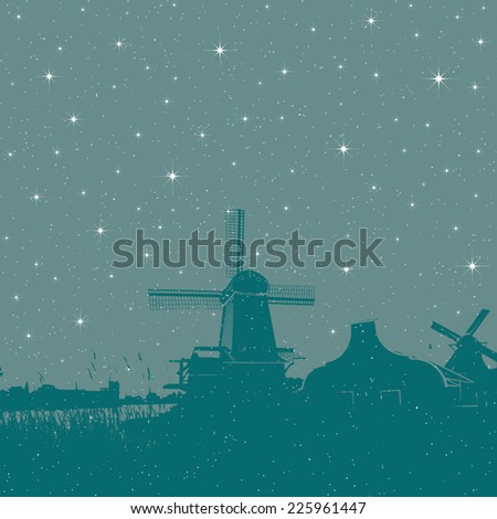 Starry winter holiday background windmills scene - stock vector
