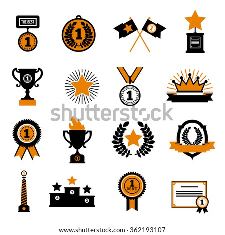 Stars and awards flat decorative icons set with cup crown medals and sport  rewards in black and gold colors isolated vector illustration - stock vector