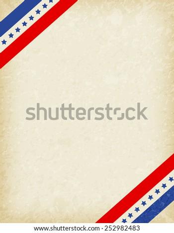 Stars and stripes corners on grunge background. USA patriotic frame design - stock vector