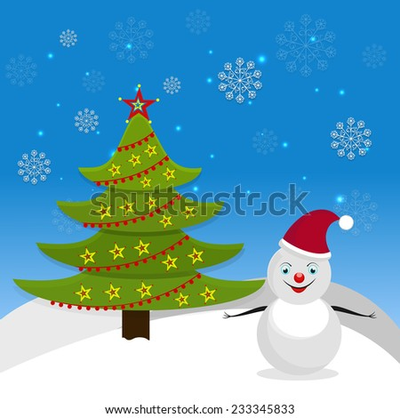Stars decorated beautiful X-mas tree with cute snowman in Santa's cap on snowflakes decorated winter background. - stock vector