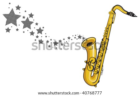 stars floating from a saxophone - stock vector