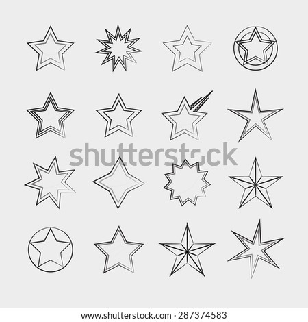 Stars icon collection - stock vector