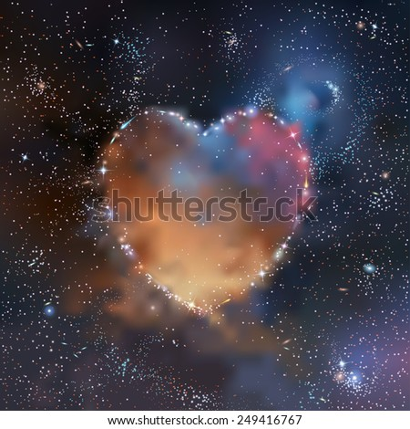 Stars, nebulas and galaxies heart shaped cluster in deep space vector illustration - stock vector