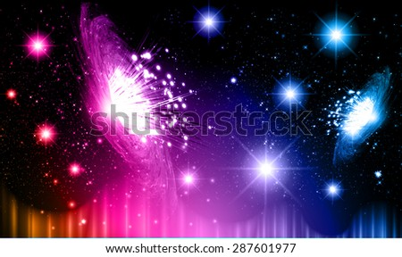 Stars of a planet and galaxy in a free space. meteor, meteorite.dark purple blue orange background. Milky Way. Spark - stock vector