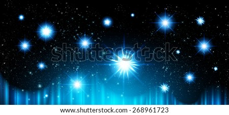 Stars of a planet and galaxy in a free space. meteor, meteorite, fire on dark blue background. Universe. - stock vector