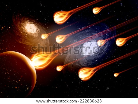 Stars of a planet and galaxy in a free space. meteor, meteorite, fire on dark blue orange background.  - stock vector