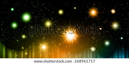 Stars of a planet and galaxy in a free space. meteor, meteorite, fire on dark blue orange green background. Universe. - stock vector