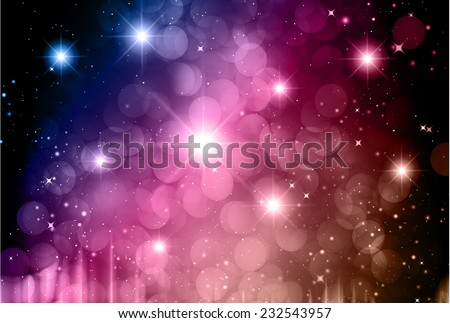 Stars of a planet and galaxy in a free space. meteor, meteorite, fire on dark Purple brown background. Universe. - stock vector