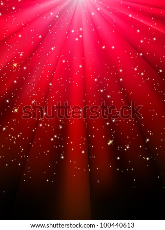 Stars on red striped background. Festive pattern great for winter or christmas themes. EPS 8 vector file included - stock vector