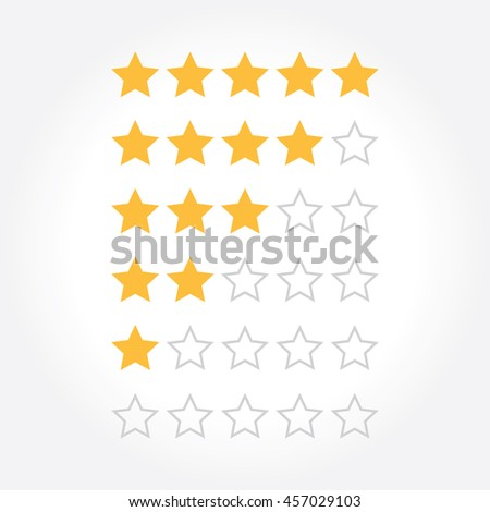 Stars rating design elements. Kit of star shapes for ranking interface. Vector illustration in flat style. - stock vector